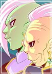 2boys black_eyes blue_background close-up dragon_ball dragon_ball_super earrings expressionless face frame gowasu green_skin grey_eyes jewelry looking_away male_focus mohawk multiple_boys potara_earrings profile shaded_face short_hair simple_background smile tetsuyo upper_body white_hair yellow_skin zamasu