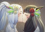 2girls andonoz animal_ears bangs black_hair blurry blurry_background blush bridal_veil bride cat_ears cat_tail close-up closed_eyes commission dress face final_fantasy final_fantasy_xiv flower gradient gradient_background hair_flower hair_ornament kiss long_hair miqo'te multicolored_hair multiple_girls ponytail profile signature streaked_hair tail two-tone_hair veil wedding wedding_dress whisker_markings white_hair wife_and_wife yuri