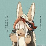 1other ambiguous_gender animal_ears arms_up artist_name blue_background check_translation eyebrows_visible_through_hair furry helmet highres kawasemi27 looking_at_viewer made_in_abyss nanachi_(made_in_abyss) open_mouth simple_background smile tail translation_request twitter_username upper_body whiskers