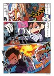 2boys absurdres artist_name black_eyes blue_eyes bodysuit bright_pupils brown_hair character_name chestnut_mouth comic darling_in_the_franxx delphinium_(darling_in_the_franxx) driving explosion highres hiro_(darling_in_the_franxx) mato_(mozu_hayanie) mecha multiple_boys orange_eyes pilot strelizia throwing