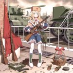 1girl blonde_hair blue_eyes bolt_action boots braid capelet cherry_hair_ornament circle_a commentary_request explosive flag food_themed_hair_ornament full_body fur_hat girls_frontline gloves grenade ground_vehicle gun hair_ornament hat looking_at_viewer military military_vehicle mosin-nagant motor_vehicle pantyhose ppsh-41 ppsh-41_(girls_frontline) rifle ruins skirt smile soviet_flag stick_grenade submachine_gun t-34 tank ushanka weapon