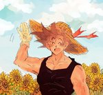 1boy :d ^_^ arm_at_side arm_up bare_arms bare_shoulders black_hair black_shirt blue_sky closed_eyes cloud cloudy_sky day dqn_(rattamgmg) dragon_ball dragon_ball_z eyebrows_visible_through_hair flower gloves hand_up happy hat male_focus open_mouth outdoors red_ribbon ribbon shirt short_hair single_glove sky sleeveless sleeveless_shirt smile son_gokuu spiked_hair standing straw_hat sunflower upper_body waving white_gloves yellow_flower