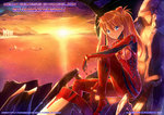 1girl anniversary artist_name bangs blue_eyes blush bodysuit bracer building cityscape cloud cockpit eva_02 from_side full_body gloves grin hair_between_eyes hair_ornament highres kazeno knee_up long_hair looking_at_viewer mecha neon_genesis_evangelion number ocean orange_hair pilot_suit plugsuit sitting sky skyscraper smile souryuu_asuka_langley sparkle sun sunset turtleneck two_side_up water watermark web_address