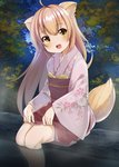 1girl :d animal_ears apron bangs blush commentary_request eyebrows_visible_through_hair floral_print fox_ears fox_girl fox_tail hair_between_eyes head_tilt highres japanese_clothes kimono konohana_kitan light_brown_hair long_hair long_sleeves looking_at_viewer night night_sky obi open_mouth outdoors pink_kimono print_kimono red_apron sakura_choko sash short_kimono sidelocks sitting sky smile solo star_(sky) starry_sky tail tree very_long_hair waist_apron water wide_sleeves yellow_eyes yuzu_(konohana_kitan)