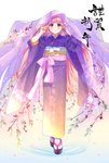 1girl absurdres bangs eyebrows_visible_through_hair floating_hair floral_print full_body gradient_kimono highres japanese_clothes kimono kotori_(gokigen_iori) long_hair long_sleeves looking_at_viewer obi original pink_hair print_kimono purple_eyes purple_kimono sash smile solo standing tabi veil very_long_hair white_legwear wide_sleeves