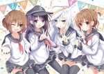 4girls :d ;d akatsuki_(kantai_collection) anchor_symbol anniversary aruka_(alka_p1) belt black_legwear blue_eyes blue_headwear blue_skirt brown_eyes brown_hair confetti eyebrows_visible_through_hair fang flat_cap folded_ponytail hair_between_eyes hair_ornament hairclip hammer_and_sickle hat hibiki_(kantai_collection) ikazuchi_(kantai_collection) inazuma_(kantai_collection) kantai_collection long_hair long_sleeves looking_at_viewer multiple_girls neckerchief one_eye_closed open_mouth pantyhose pennant pleated_skirt purple_eyes purple_hair red_neckwear sailor_collar school_uniform serafuku short_hair silver_hair skirt smile star streamers string_of_flags thighhighs v verniy_(kantai_collection) white_headwear