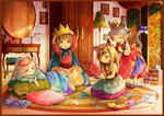 4girls adjusting_clothes adjusting_hat ahoge animal_ears beads blue_eyes book border bottle bow brown_hair cape cat_ears cat_tail child closed_eyes commentary crown desk drawer dress green_eyes hair_bow hairdressing hand_mirror hat head_rest headdress indoors jewelry lamp light_particles long_hair looking_at_another lying mirror multiple_girls necklace on_side open_mouth original painting_(object) perfume_bottle pillow pink_hair playing princess rug scissors short_hair sitting smile stool tail tail_bow tape tati_tachiko