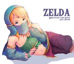 1boy alternate_costume artist_name bad_id bad_pixiv_id bare_shoulders blonde_hair blue_eyes blush bridal_gauntlets commentary copyright_name covered_mouth crossdressing detached_sleeves earrings gerudo_link highres jewelry link looking_at_viewer lying male_focus midriff navel on_side otoko_no_ko pointy_ears solo stomach the_legend_of_zelda the_legend_of_zelda:_breath_of_the_wild tori_(user_hghr2284) veil