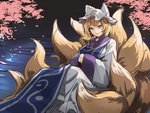 1girl animal_ears asutora blonde_hair cherry_blossoms closed_mouth commentary_request fox_ears fox_tail hands_in_sleeves hat long_sleeves looking_at_viewer pillow_hat shirt sitting skirt smile solo tabard tail touhou white_shirt white_skirt wide_sleeves yakumo_ran