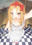 1girl :d apron arm_up bare_arms bare_shoulders blonde_hair blurry blush bow checkered checkered_floor collarbone depth_of_field desk_lamp drill_locks eromanga_sensei eyebrows_visible_through_hair fisheye frilled_apron frills goruva groin hair_bow hairband highres holding indoors ladle lamp long_hair looking_at_viewer naked_apron open_mouth perspective pov red_bow red_eyes red_hairband slippers smile solo stairs standing white_apron yamada_elf