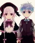 1boy 1girl 8ne_(nitika127) blue_eyes blue_hair bow bowtie braid caster_(fate/extra_ccc) dress fate/extra fate/extra_ccc fate/grand_order fate_(series) holding_hands long_hair nursery_rhyme_(fate/extra) purple_eyes short_hair smile twin_braids vest
