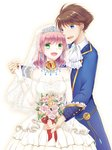 1boy 1girl :d blue_eyes blue_suit bouquet breasts bridal_veil brown_hair butz_klauser commentary_request couple detached_sleeves dress final_fantasy final_fantasy_v flower gloves green_eyes holding_hands large_breasts lenna_charlotte_tycoon open_mouth pink_hair short_hair smile veil wedding_dress white_background white_dress white_gloves white_sleeves yuuri_mitsuki