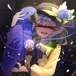 1girl ^_^ animal bandaid bangs bird black_bow black_hat black_neckwear blood blue_flower blue_rose bow bowtie brooch censored closed_eyes commentary_request eyeball fangs flower frilled_shirt_collar frills hair_between_eyes hand_up hat hat_flower holding holding_animal hyacinth_macaw identity_censor jewelry komeiji_koishi long_sleeves macaw musical_note musical_note_print open_mouth parrot petals puffy_sleeves rose shirt short_hair silver_hair sindre smile solo sparkle tears third_eye touhou upper_body white_flower yellow_shirt
