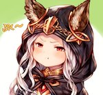 1girl :t >:t animal_ears blush cat_ears cloak ears_through_headwear erun_(granblue_fantasy) granblue_fantasy hood hooded_cloak long_hair looking_at_viewer pout red_eyes silver_hair simple_background skasaha_(granblue_fantasy) solo sukemyon upper_body