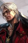 1boy black_shirt blue_eyes dante_(devil_may_cry) devil_may_cry facial_hair glint grey_background grin hankuri head_tilt holding holding_sword holding_weapon jacket looking_at_viewer male_focus open_clothes open_jacket over_shoulder parted_lips red_jacket shirt silver_hair smile solo stubble sword weapon weapon_over_shoulder zipper