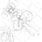 2girls >:) ascot barefoot blood blouse blush bow braid detached_sleeves futon hair_bow hair_tubes hakurei_reimu hat imminent_sex inset kirisame_marisa large_bow lying monochrome multiple_girls noel_(pixiv5459099) nosebleed on_back side_braid single_braid skirt sparkle thumbs_up touhou translated witch_hat yuri