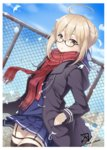 1girl :o ahoge bangs black-framed_eyewear blonde_hair blush braid commentary_request dark_persona fate/grand_order fate_(series) feathers fence french_braid glasses hair_between_eyes hand_in_pocket heroine_x heroine_x_(alter) jacket looking_at_viewer mono_kuroma plaid plaid_scarf red_scarf saber scarf school_uniform semi-rimless_glasses sky solo thighhighs twitter_username under-rim_glasses yellow_eyes