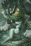 1girl arm_support blue_eyes broken broken_chain chain claws earrings fang grass hand_on_another's_face imp jewelry link_(wolf) looking_at_viewer midna miles-df monster_girl navel one_eye_covered pointy_ears sitting smile stomach the_legend_of_zelda the_legend_of_zelda:_twilight_princess two-tone_skin yellow_eyes