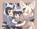 3girls :d animal_ears black_eyes black_hair blonde_hair blue_eyes borrowed_character closed_eyes commentary_request common_raccoon_(kemono_friends) extra_ears fang fennec_(kemono_friends) fennecoon_(kemono_friends)_(panzuban) fox_ears fox_tail girl_sandwich grey_hair group_hug hug if_they_mated kemono_friends kolshica multicolored_hair multiple_girls open_mouth outline pleated_skirt puffy_short_sleeves puffy_sleeves raccoon_ears raccoon_tail sandwiched short_hair short_sleeves skirt smile tail white_hair white_outline