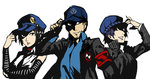 1boy 2girls armband baseball_cap black_eyes black_hair blue_hair bust detached_sleeves hand_on_headwear hat highres iori_junpei jacket looking_at_another marie_(persona_4) multiple_girls nanaya_(daaijianglin) necktie persona persona_3 persona_4 persona_4_the_golden shirogane_naoto short_hair smile vest