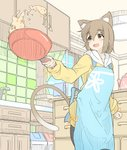 1girl animal_ear_fluff animal_ears apron brown_eyes brown_hair cat_ears cooking food fried_rice frying_pan highres holding hood hoodie indoors kitchen minato_nao open_mouth original solo tail