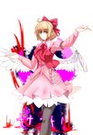 1girl arm_up armband ascot belt belt_buckle blonde_hair blouse bow buckle crescent cross eyebrows_visible_through_hair feathered_wings feet_out_of_frame frilled_shirt_collar frills gengetsu gradient gradient_background grey_legwear hair_bow highres juliet_sleeves long_sleeves looking_at_viewer outstretched_arm pantyhose pink_blouse pink_skirt pointy_ears puffy_sleeves red_neckwear red_vest short_hair skirt skirt_set smile solo standing tk31 touhou touhou_(pc-98) transparent_background vest white_wings wings yellow_eyes