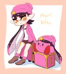 +_+ 1girl :o aori_(splatoon) beanie black_hair brown_footwear brown_shorts character_name company_connection copy_ability coula_cat crossover domino_mask gradient_hair hat hat_ornament highres hood hood_down hooded_jacket jacket kirby kirby_(series) long_hair long_sleeves looking_at_another luggage mask mole mole_under_eye multicolored_hair nintendo open_clothes open_jacket open_mouth orange_eyes pink_hair pink_headwear pink_jacket pointy_ears shirt shoes shorts splatoon_(series) splatoon_2 star symbol-shaped_pupils tentacle_hair two-tone_hair very_long_hair white_shirt
