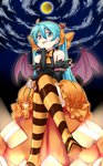 1girl aqua_eyes aqua_hair chin_rest colored_stripes crossed_legs crown demon_wings detached_sleeves full_moon halloween hatsune_miku highres jack-o'-lantern long_hair mini_crown moon night sitting solo star striped striped_legwear thighhighs tonbo_(11023) twintails vocaloid wand wings