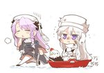 2girls alternate_costume artist_name azur_lane bandaid bandaid_on_face bird blush braid burnt_clothes commentary_request cross crucifix dress eagle enterprise_(azur_lane) fur_hat hair_between_eyes hat long_hair looking_at_viewer minigirl multiple_girls nun pom_pom_(clothes) purple_eyes rebecca_(keinelove) scarf silver_hair skirt sled smile thighhighs ushanka very_long_hair vestal_(azur_lane) white_footwear white_hat white_legwear white_scarf white_skirt