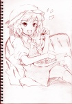 1girl flandre_scarlet monochrome pink pink_background sketch solo touhou vent_arbre