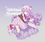 1girl artist_name barefoot blue_bow book bow character_name crescent crescent_moon_pin eyebrows_visible_through_hair full_body gradient gradient_background hat holding holding_book long_hair looking_at_viewer patchouli_knowledge purple_eyes purple_hair red_bow red_neckwear roti simple_background solo star touhou very_long_hair watermark