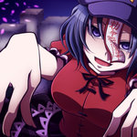1girl blue_eyes blue_hair blurry blurry_background breasts commentary dress evil_smile graveyard hat jiangshi large_breasts miyako_yoshika ofuda outstretched_arms puffy_sleeves red_dress shaded_face short_hair short_sleeves skirt smile solo tombstone tottsuman touhou upper_body zombie zombie_pose