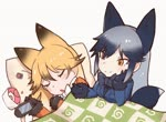 2girls animal_ears animated black_gloves blanket blonde_hair blue_jacket bow bowtie closed_eyes commentary eyebrows_visible_through_hair ezo_red_fox_(kemono_friends) fox_ears fox_tail gloves hair_between_eyes jacket kemono_friends long_hair long_sleeves looping_animation lying mp4 multiple_girls nose_bubble on_back pillow silver_fox_(kemono_friends) silver_hair sleeping tail tuxedo_de_cat white_background