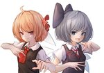 2girls absurdres ahoge black_vest blonde_hair blue_bow blue_eyes blue_hair blush bow cirno commentary eyebrows_visible_through_hair fang hair_bow highres hito_komoru ice ice_wings looking_at_viewer multiple_girls neck_ribbon open_mouth red_bow red_eyes red_neckwear red_ribbon ribbon rumia shirt short_hair short_sleeves simple_background smile touhou upper_body vest white_background white_shirt wings