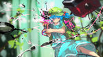 1girl backpack bag blue_eyes blue_hair closed_mouth commentary_request fork frying_pan hair_bobbles hair_ornament hair_over_one_eye hat kaatoso kawashiro_nitori screw short_hair skirt smile solo spoon touhou twintails two_side_up