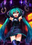1girl aqua_hair bare_shoulders black_dress black_gloves black_hair black_legwear dress elbow_gloves flame gears gloves hat hatsune_miku headset highres machinery magu_(mugsfc) open_mouth panties pantyshot pantyshot_(standing) project_diva_(series) project_diva_f red_eyes sadistic_music_factory_(vocaloid) sleeveless sleeveless_dress smile solo standing tattoo thighhighs twintails underwear vocaloid