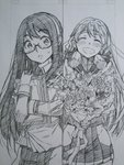 akashi_(kantai_collection) bandana black_hair bouquet closed_eyes comic flower glasses greyscale hair_ribbon hairband highres hip_vent kantai_collection kojima_takeshi military military_uniform monochrome multiple_girls naval_uniform ooyodo_(kantai_collection) ribbon school_uniform semi-rimless_glasses serafuku smile tress_ribbon twintails under-rim_glasses uniform