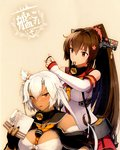 2girls adjusting_another's_hair between_breasts book breasts brown_hair cape cherry_blossoms cleavage dark_skin detached_sleeves flower hair_between_eyes hair_flower hair_ornament highres kantai_collection large_breasts long_hair looking_at_viewer mouth_hold multiple_girls musashi_(kantai_collection) official_art ponytail red_eyes shimakaze_(kantai_collection) shizuma_yoshinori short_hair_with_long_locks skirt very_long_hair waifu2x white_hair yamato_(kantai_collection)