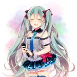 1girl 39 :d asagao_minoru closed_eyes collar commentary_request cowboy_shot green_hair hatsune_miku highres long_hair microphone nail_polish necktie open_mouth skirt smile solo thighhighs twintails very_long_hair vocaloid