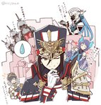 2girls 5boys armor blue_hair blush brown_eyes brown_hair closed_eyes commentary_request drop food gift glasses hat heart holding holding_gift holding_plate hugo_el_superbia kagutsuchi_(xenoblade) long_hair mask meleph_(xenoblade) military military_uniform mochimochi_(xseynao) multiple_boys multiple_girls one_eye_closed plate short_hair shoulder_armor smile sweat sweatdrop translation_request uniform wadatsumi_(xenoblade) xenoblade_(series) xenoblade_2