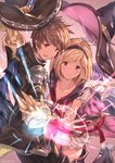1boy 1girl absurdres blonde_hair boots breasts brown_hair cleavage collarbone commentary_request djeeta_(granblue_fantasy) epaulettes frills gloves gran_(granblue_fantasy) granblue_fantasy hairband hat highres milli_little puffy_short_sleeves puffy_sleeves school_uniform serafuku short_hair short_sleeves thigh_boots thighhighs warlock_(granblue_fantasy) witch_hat