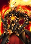 1boy armor ashwatthama_(fate/grand_order) black_armor black_gloves cowboy_shot fate/grand_order fate_(series) fiery_background fire full_armor gamiani_zero gloves highres male_focus pauldrons solo standing