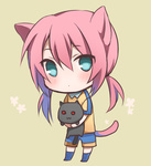 1boy animal_ears blush cat chibi green_eyes inazuma_eleven_(series) inazuma_eleven_go kirino_ranmaru male_focus pink_hair raimon raimon_soccer_uniform soccer_uniform solo sportswear standing tail twintails yuuki_arisu_(yuigi)