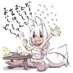 1girl animal_ear_fluff animal_ears bangs bare_legs barefoot blush chibi commentary_request eating eyebrows_visible_through_hair eyes_visible_through_hair flying_sweatdrops food fox_ears fox_girl fox_tail fried_rice full_body furrowed_eyebrows hair_between_eyes hatching_(texture) long_hair looking_at_viewer nose_blush open_mouth original plate shadow short_eyebrows simple_background sketch solo tail tail_wagging thick_eyebrows translation_request u-non_(annon'an) wavy_mouth white_background white_hair yellow_eyes