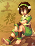 1girl ankle_cuffs ankle_wraps avatar:_the_last_airbender barefoot black_hair chinese_clothes cuffs dirty_feet feet hair_bun rock sitting smile soles solo toph_bei_fong white_eyes wrist_wraps