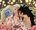 1boy 1girl :q bed_sheet black_hair blue_hair breasts brown_eyes cleavage couple fairy_tail food gajeel_redfox happy_valentine head_rest heart heart_pillow jewelry levy_mcgarden long_hair lying medium_breasts necklace nose_piercing off_shoulder on_back petals piercing pillow rusky sleeveless spiked_hair tongue tongue_out twitter_username under_covers upper_body