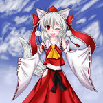 1girl alternate_costume animal_ears blush breasts collarbone detached_sleeves fang hair_ornament hair_ribbon hakurei_reimu_(cosplay) hat inubashiri_momiji japanese_clothes karakuri_neko_(tkfm) looking_at_viewer midriff mound_of_venus navel one_eye_closed red_eyes ribbon ribbon-trimmed_sleeves ribbon_trim short_hair silver_hair solo tail tokin_hat touhou wolf_ears wolf_tail