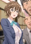1girl 2boys :d age_difference aqua_bow aqua_neckwear bald black_neckwear blazer blue_blazer blue_jacket blurry blurry_background bow bowtie breasts brown_hair bursting_breasts buttons cleavage cleavage_cutout closed_eyes collared_shirt depth_of_field facial_hair from_side grey_eyes grey_hair grey_jacket hair_between_eyes happy indoors inset jacket kosokosomaru large_breasts long_sleeves looking_afar looking_at_viewer mizuno_nanatsu multiple_boys necktie old_man open_clothes open_jacket open_mouth original outstretched_arm school_uniform shiny shiny_hair shirt short_hair smile standing stubble suit_jacket thick_eyebrows uniform upper_body white_shirt