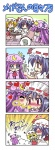 3girls 4koma :< :t =_= blush cake cheek_kiss chibi colonel_aki comic eating english flandre_scarlet food hat heart jealous kiss money multiple_girls pastry patchouli_knowledge red_eyes remilia_scarlet silent_comic squiggle tears touhou translated
