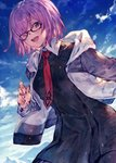 1girl :d bad_id bad_twitter_id benitama black-framed_eyewear black_dress blue_sky blush day dress fate/grand_order fate_(series) glasses hair_over_one_eye hood hood_down hooded_jacket jacket long_sleeves looking_at_viewer mash_kyrielight necktie open_clothes open_jacket open_mouth outdoors pink_hair purple_eyes red_neckwear round_teeth short_hair sky smile solo tareme teeth upper_body white_jacket